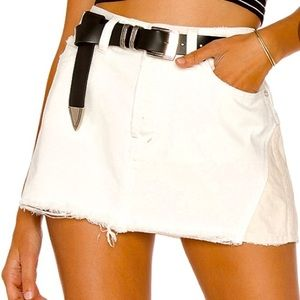 FREE PEOPLE | Patched Up Ivory Denim Mini Skirt 28
